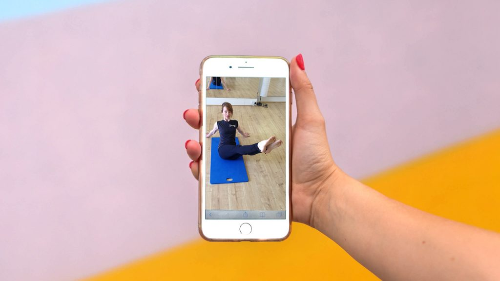 person doing pilates online